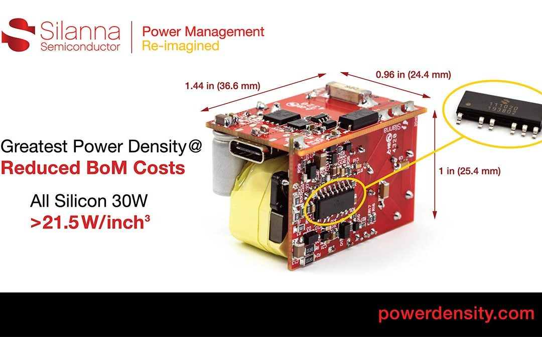 Silanna Semiconductor Delivers Highest Power Density 30W USB-PD Charger Design at Reduced BoM Costs